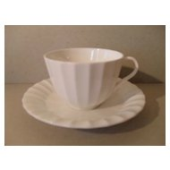 Fresh White Royal Worcester Ribbed Teacup and Saucer