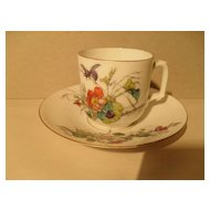Handpainted Bee Butterfly Flowers Demitasse Cup/Saucer