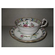 Aynsley Asian Garden Black Bird Teacup and Saucer A4284