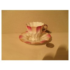 Early Miniature Flared Pink Teacup/Saucer Gold Germany