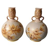 Pair Doulton Lambeth Carrara Yellow/Gold Floral Vases Simmance