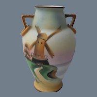 Vintage Morimura Bros Windmill Scene Nippon Vase