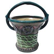 Art Nouveau Riessner Amphora Floral Pottery Basket