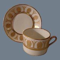 Richard Ginori Ercolano Gold Flat Teacup and Saucer