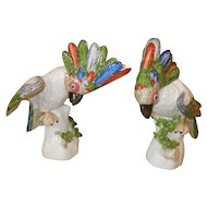 Pair Nymphenburg Cockatoo Porcelain Figurines Wackerle