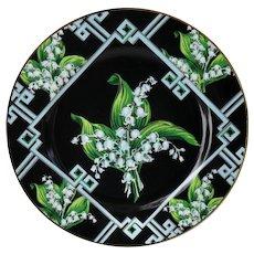 Andrea Sadek Lily of the Valley Black Dinner Plates (12)