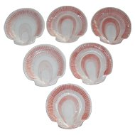 Vintage Set of Six Fitz and Floyd Coquille Seashell Plates