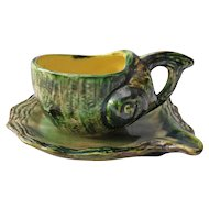 Figural Vintage Majolica Shell Form Teacup and Saucer