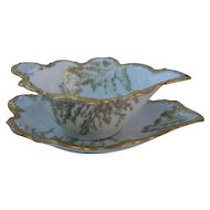 T&V Limoges France Gold Sea Fern Sauce Dish