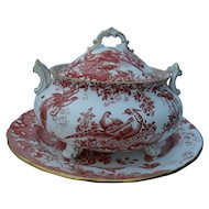 Royal Crown Derby Red Aves Tureen, Lid, Undertray