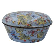 Colorful Enamel Trinket Box Purple and Blue Butterflies