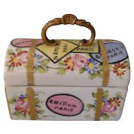 Vintage French Porcelain Travel Trunk Trinket Box