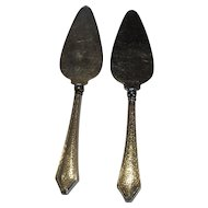 Pair of Webster Hammered Sterling Silver Pastry Servers