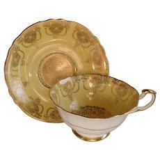 Paragon Yellow Heavy Gold  Quatrefoil Teacup/Saucer
