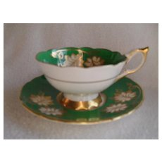 Royal Stafford Green and Gold Teacup and Saucer
