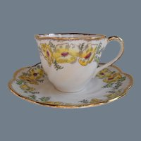 Salisbury England St Brigid Yellow Poppy Teacup/Saucer