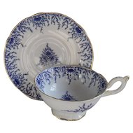 Commanding Coalport Blue and White Floral Triangle Teacup and Saucer
