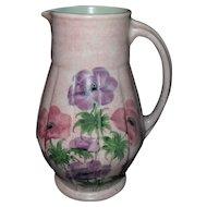 Radford Handpainted Art Deco Period Poppy Pink Pitcher Vase