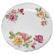 Hammersley Morgan's Rose Pink and Yellow Tea Rose Salad Plate 8 1/4""