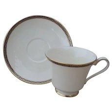 Minton St James Pale Blue Ovals on Cobalt/Gold Teacup and Saucer