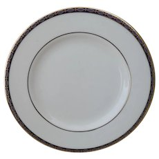 Minton St James Pale Blue Ovals on Cobalt/Gold Bread and Butter Plate