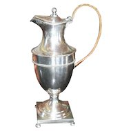 Beautiful Silverplated Footed Coffeepot with Wicker Handle Square Base