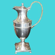 Silverplated Footed Coffeepot with Wicker Handle Square Base