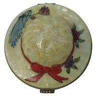 Lovely Vintage Signed Limoges Sun Bonnet with Roses Figural Pill Box