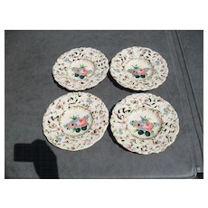Vintage Tin Glazed Italy Faience Handpainted Floral Plates (4)