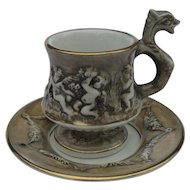 Capodimonte Dragon Handle Cherubs Demitasse Cup and Saucer