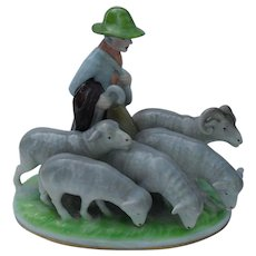 Exquisite Gerold & Co Porzellan Bavaria Goat and Ram Herder Figurine - Red Tag Sale Item