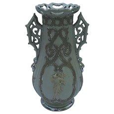Antique Villeroy and Boch Mettlach Putty Salt Glaze Parian Figure Silver Vase