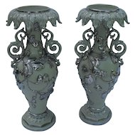 Pair of Ornate Villeroy and Boch Mettlach Salt Glazed Putty Silver Strawberry Candleholders
