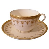 Elegant Royal Worcester 'Imperial' Gold Encrusted Swags and Dots Teacup and Saucer
