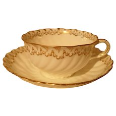 Beautiful George Jones for Davis Collamore Gold Sea Swirl Teacup and Saucer Q1545