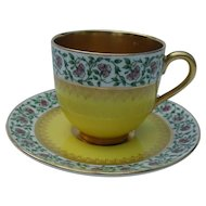 Rare Royal Worcester Gold Miniature Teacup and Saucer Viking Ship Backstamp 1918