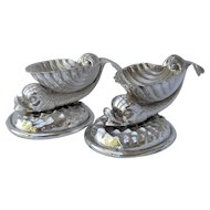 Pair of Silverplated Shell Shaped Dolphin Body Salt Cellars