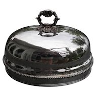 Beautiful Antique English Armorial Sheffield Silverplated Meat Dome Cover