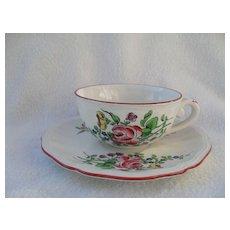 Keller & Guerin Luneville France Old Strasbourg Ca 1880 Teacup and Saucer Roses