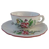 Keller & Guerin Luneville France Old Strasbourg Ca 1880 Teacup and Saucer Roses