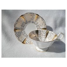 Queen Anne Gold Lace Flared Avon Shape Teacup and Saucer
