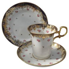 Paragon Pink Roses Gold Encrusted Espresso Cup Saucer and Plate Trio 1920