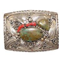 Vintage Navajo Sterling Turquoise & Coral Belt Buckle M. Thomas Jr.