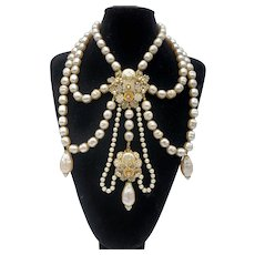 DeMario Baroque Faux Pearl Butterfly Necklace