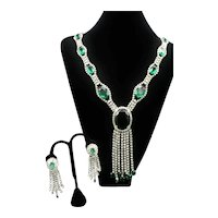 Emerald Green Glass and Rhinestone Necklace and Earring Set