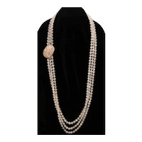 14K Gold Rose Quartz Beaded Necklace