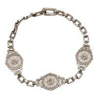 Art Deco Era 14K White Gold Rock Crystals and Diamonds Bracelet