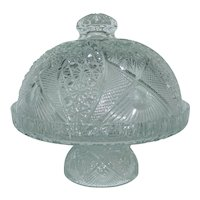 American Brilliant Cut Glass Pedestal Covered Cake Stand Dome Punch Bowl