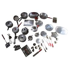 Vintage Metal Child Toy Pots and Pans Cookware Etc Set.