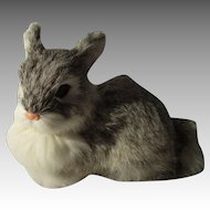 Vintage Flax Fur Easter Rabbit